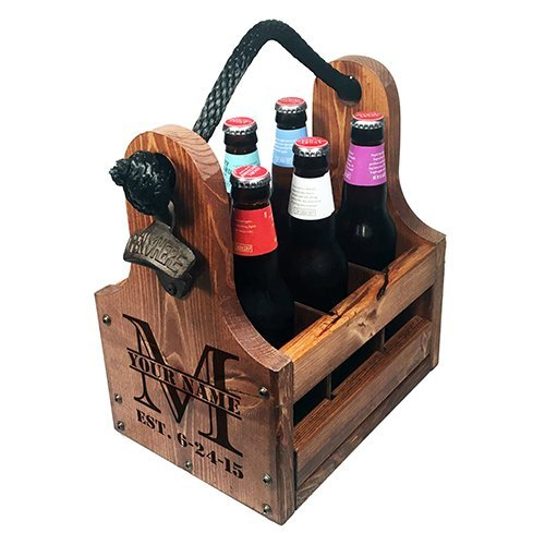 Beer Caddy with Split monogram with est Date