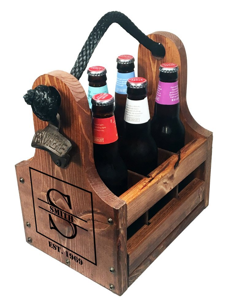 Boxed Monogram with EST Date Beer Caddy