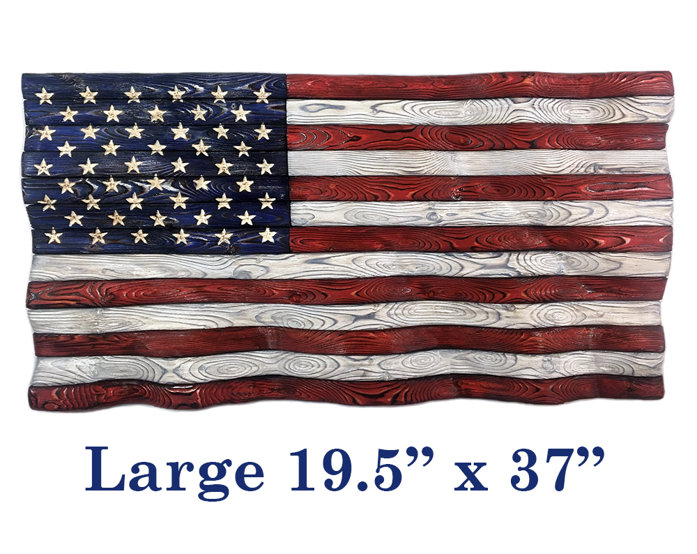 Handcrafted Waving Wood Signature Series Flag- Large 19.5 inches by 37 inches