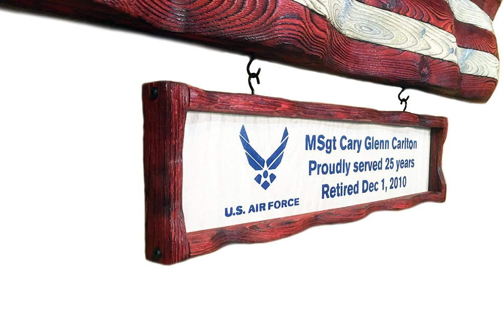 Personalize any large flag with a personalized plaque